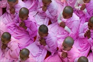 Buddhist nuns in prayer at the Sagaing Hills Nunnery